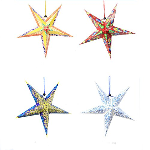 Zehui 3D Paper Star Lantern Three-dimensional Laser Paper Five-pointed Star Ceiling Hangings Christmas Home Decoration 6Pcs