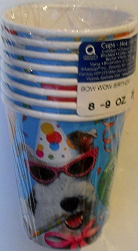 - 4 Each: BOW WOW Birthday HOT / Cold Cups 9 Oz. (Pack of 8)