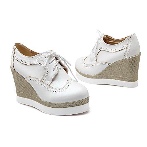 Amoonyfashion Donna Stringate Tacco Alto Tacchi Alti Scarpe-scarpe Bianche