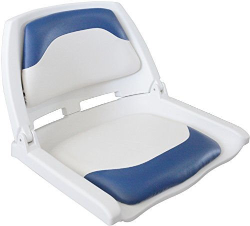 Leader Accessories New Marine Folding Boat Seat (White/Blue)