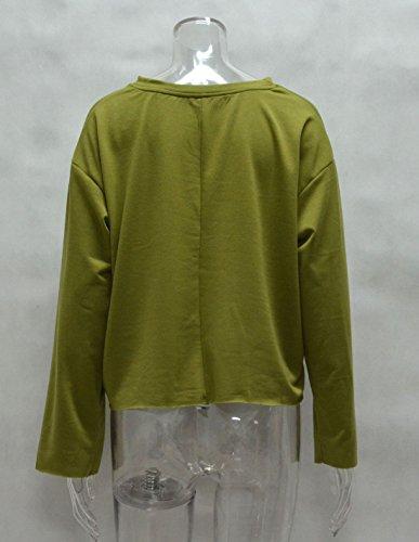 Tops Maglie Jumper Felpe Bluse Casual Quotidiani Sweatshirt Smalltile Lunga Moda Tinta Manica Primavera Army Maglione Unita Autunno Donne Pullover Rotondo Green Collo a e Corto wqwxzYBXZP