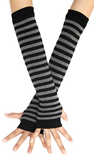 Punk Gothic Rock Long Arm Warmer Fingerless Gloves, Black Grey