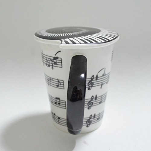 HLJgift Creative Ceramic Musician Coffee Mug Tea Cup with Lid Staves Music Notes as Valentines Day Gift Teacher Gift