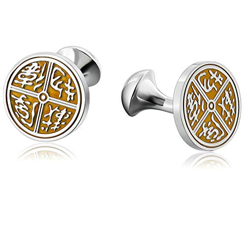 Alimab Wedding Business Classic Stainless Steel Men Round Engraved Pattern Silver Yellow Cufflinks in a Gift ()