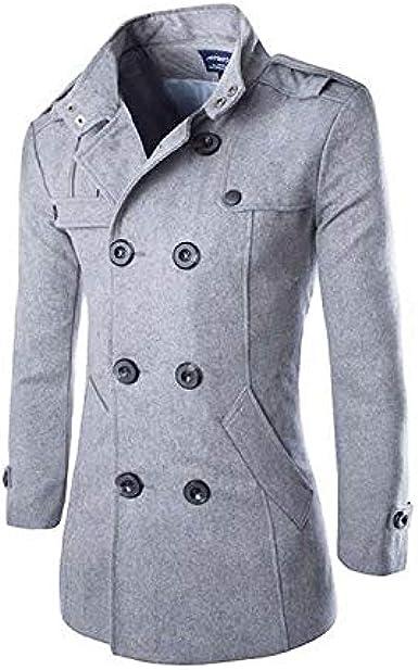 TALLA M. Hombres Otoño Invierno Doble fila Botón Abrigo Top Blusa Chaqueta Hombres Jacket Outerwear Tops Blazer