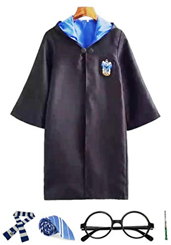 Ravenclaw Cosplay with Robe, Wand, Glasses, Tie and Scarf-Sz Large Black ()