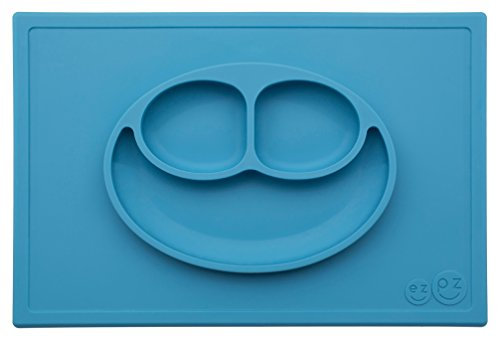 ezpz Happy Mat - One-piece silicone placemat + plate (Blue) -