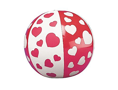 Mini Inflatable Heart Beach Balls (12 Pack) Inflated, Approx. 5''; Deflated, 7''. by Fun Express