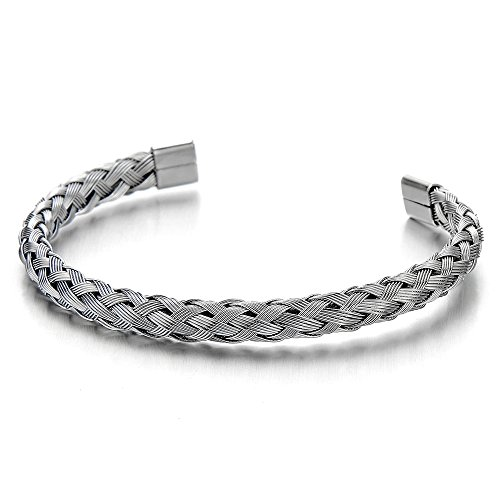 Braided Cable Bracelet (Elastic Adjustable Stainless Steel Braided Interwoven Cable Bangle Bracelet for Men Women Polished)