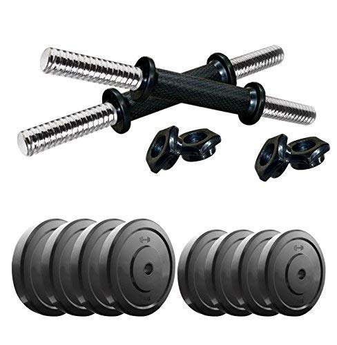SX Fitness Home Gym Setup Rubber Weight Plates (2Kg X 4 Plates, 2.5Kg X 4 Plates) and Pair of Dumbbell rods- Combo Pack 18 kg, Multicolour
