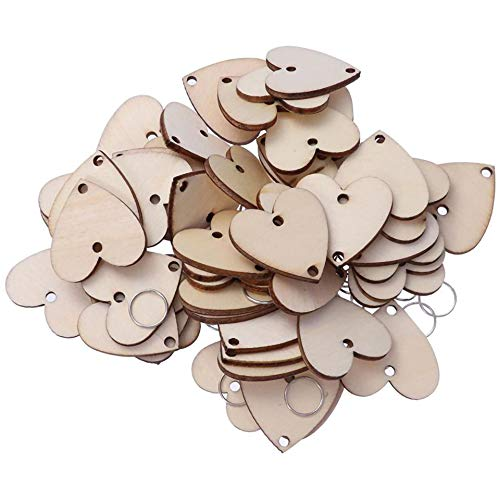 IronBuddy 50Pcs Heart Wooden Slices with Holes and Iron Loops Wooden Hanging Tags Pendant Ornaments, Blank Wood Plaque Board for Art Crafts Birthday Reminder DIY Calendar Accessories Home Decoration