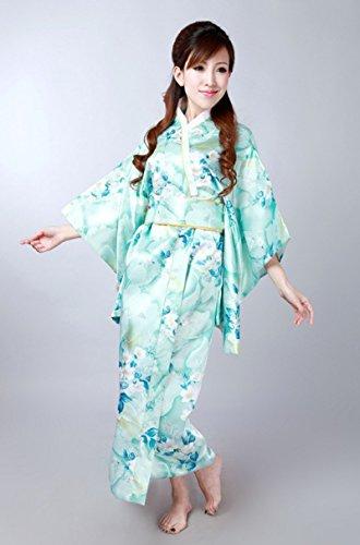 アラバマ国籍外部イチゴガール 着物 ドレス 浴衣 和風 花柄 ロング ライトブルー 2