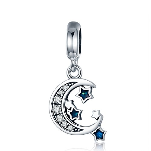 WOSTU Sweet Dream Dangle Charms 925 Sterling Silver Moon and Star Bead Charms for Charm Bracelet Necklace - Silver Moon Star Charm