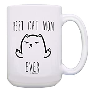 Funny Cat Mug Best Cat Mom Ever Cat Gag Gifts Gift 15-oz Coffee Mug Tea Cup 15oz Mom