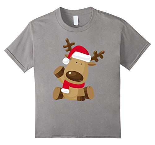 Homemade Eve Costume Ideas (Kids Cute Christmas Waving Reindeer Emoji Cartoon T-Shirt 8 Slate)