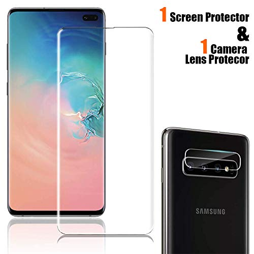 """Price comparison product image Tempered Glass Screen Protector for Galaxy S10 Plus[6.4""""],  Touch Responsive,  Include a Camera Lens Protector and Liquid Installation Tools [Case Friendly][Full Screen Coverage][HD Clear]"""