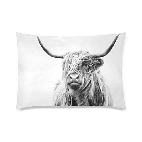 Portrait of A Highland Cow Pillow Cases Polyester Cushion Cover for Sofa Home Decorative Throw Pillow Covers 12 x 20 Inches