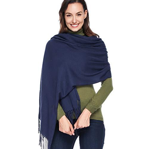 Dress Cashmere Womens (HOYAYO Cashmere Wool Shawl Wraps - Extra Large Thick Soft Pashmina Scarf(Navy))