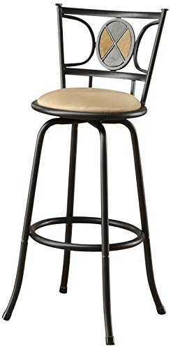 (Poundex Rector Swivel Barstool with 24-Inch Height or 29-Inch Height Adjustable Height, Set of 2)
