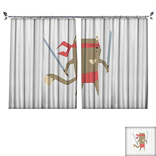 PRUNUS Window Curtain Drape with Hook mCrime Fighter Ninja Cat with Two Swords and Heart Carto Superpower Animal Fight Available in a Variety of Colors,W55 xL63