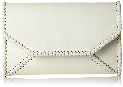 kaviar gauche Braided Envelope Clutch w. strap, Borsa a tracolla Donna Bianco (Weiß (Ivory/Silver))