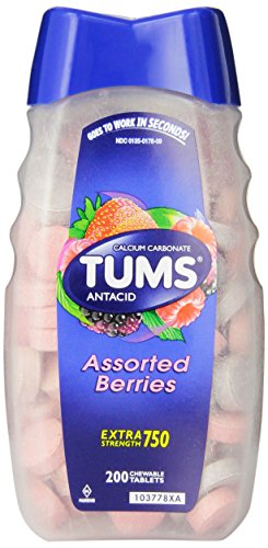 TUMS Extra Strength Assorted Berries Antacid Chewable Tablets for Heartburn Relief, 200 count ()