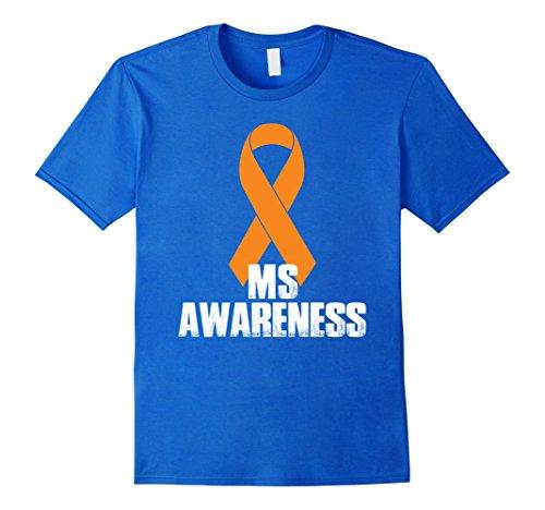Mens MS Awareness Orange Ribbon T-Shirt Large Royal Blue (Ms Awareness Color)
