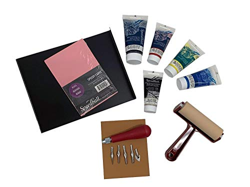 Speedball Deluxe Block Printing Kit - Includes Inks, Brayer, Bench Hook, Lino Handle and Cutters, Speedy-Carve Block, Mounted Linoleum Block -