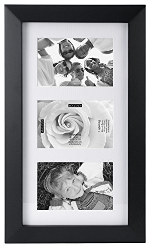 Malden International Designs Berkeley Matted Black Wood Collage Picture Frame, 3 Option, 3-4x6, Black (Options Berkeley)