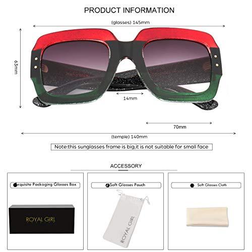 3f87c2e027 ROYAL GIRL Oversized Square Sunglasses Women Inspired Multi Tinted Frame  Fashion Modern Shades