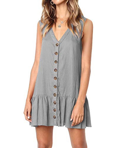Imysty Womens Polka Dot V Neck Button Down Ruffles Loose Mini Short T-Shirt Dress (Large, Z2-Dark Grey)