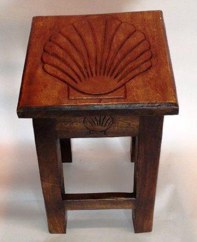 Scallop Shell Hand Carved Wooden Stool/Table