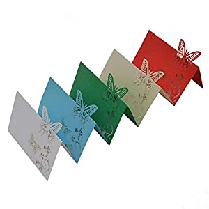 10Pcs 9X12Cm Butterfly Folding Type Laser Cut Heart Shape Table Name Card Place Card Wedding Party Decoration Favor 2