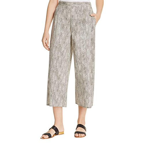 Eileen Fisher Chainette Printed Organic Cotton Crop Wide Leg Pants Black/Natural (Large)