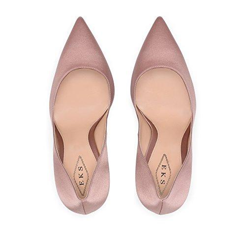 EKS Women's Fashion Pointed Toe Silk Stiletto High Heel Shoes For Party Pink-Silk ka4FMKGB5