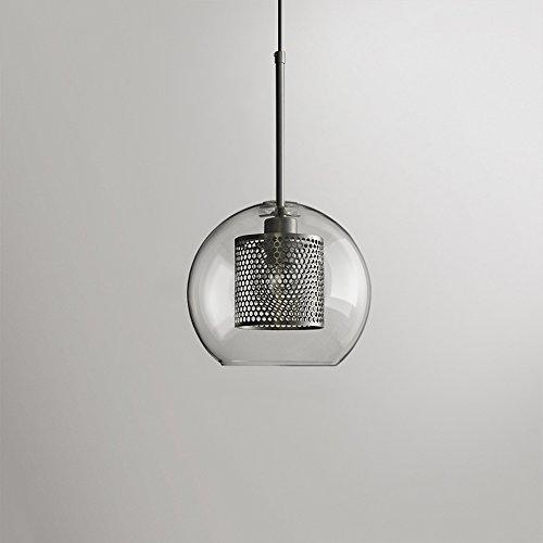 Hines Loft Restaurant Single Head Transparent Glass Ceiling Pendant Light Simple Modern 1.5M Adjustable Hanging Wire Iron Metal Chandelier Hanging Lamp E27 Decoration Lighting Fixture