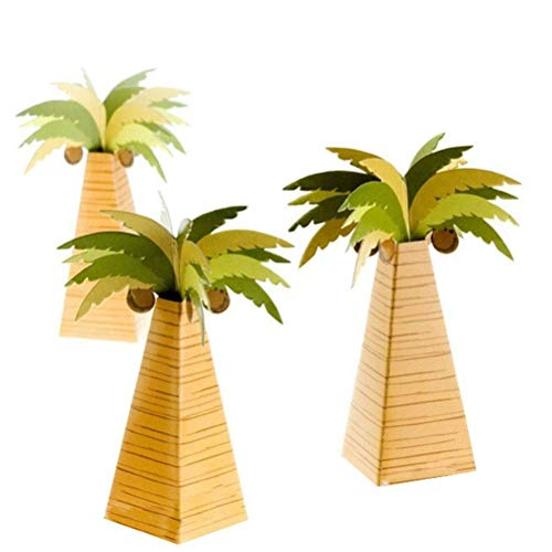 24pcs Coconut Palm Tree Gift Boxes Candy Boxes Treat Boxes Favor Boxes for Birthday Party, Shower Loot Gift Boxes -