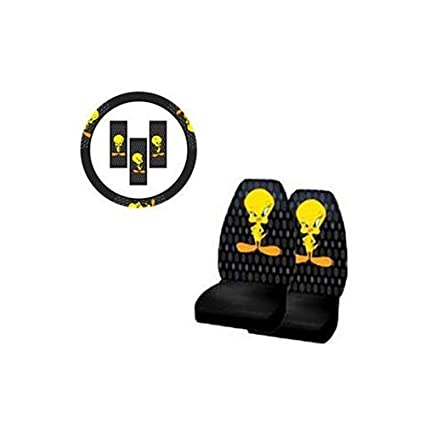 A Set Of 2 Front Universal Fit Bucket Seat Cover And Steering Wheel Covver