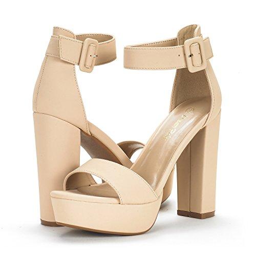 DREAM PAIRS Womens Hi-Lo High Heel Platform Pump Sandals Nude Nubuck mCbeGa