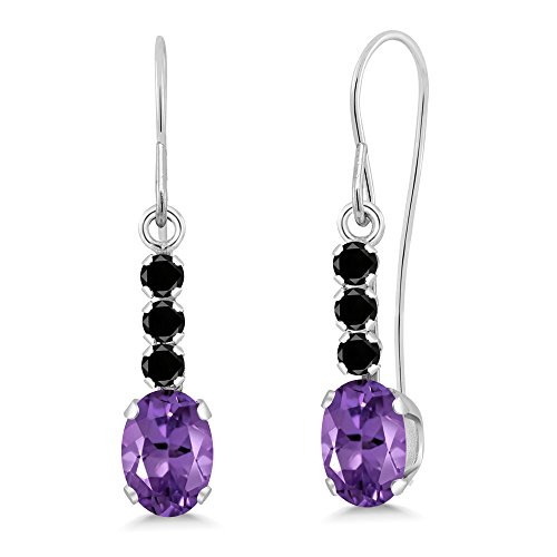 1.10 Ct Oval Purple Amethyst Black Diamond 10K White Gold Earrings by Gem Stone King