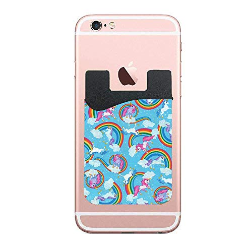 (Novelty Cotton Fabric Unicorns and Rainbows 2 Pack Cell Phone Stick On Wallet Card Holder Phone Pockets for iPhone, Android and All Smartphones)