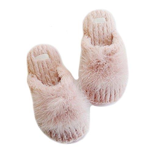 Fortuning's JDS Women Ladies Girls Velvet Super Cozy Faux Rabbit Fur House Footwear Comfy Slippers with Pompon Pink V66GvJHL