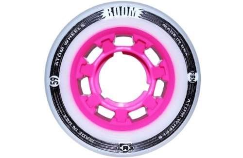 Atom Boom SLIM 59x38mm FIRM 86A White and Pink Hybrid Roller Skate Derby Wheels (4-pack)