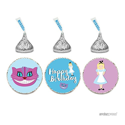 Andaz Press Birthday Chocolate Drop Labels Trio, Fits Hershey's Kisses Party Favors, Alice in Wonderland - Alice, Cheshire Cat, Happy Birthday, 216-Pack