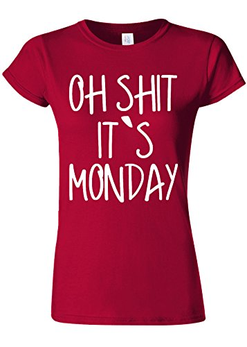 同種のコメンテーター性差別Oh Shit It`s Monday Work Novelty Cherry Red Women T Shirt Top-XXL