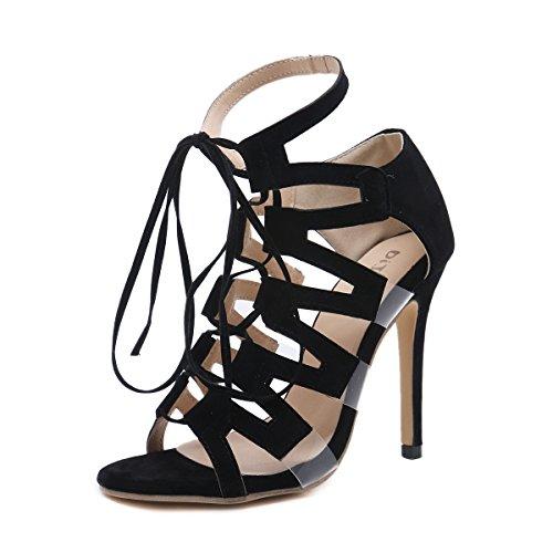 Talon Black Sandales Romain Chaussures Creux Femmes Fine Haut Ouvert Toe Cravate vExRTqwx