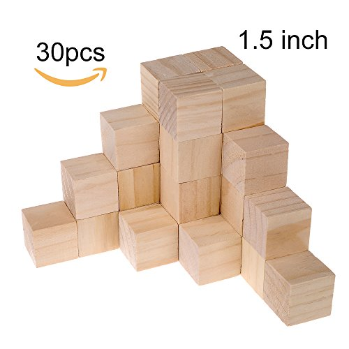 Supla 30pcs 1.5 Inch - Natural Solid Wood Square Blocks Wood Cube Blocks– For Puzzle Making, Crafts, And DIY Projects (30pcs) by Supla