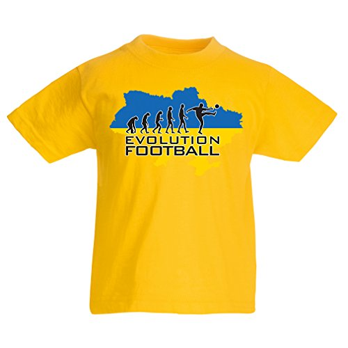 lepni.me Kids Boys/Girls T-Shirt Evolution Football - Ukraine, Championship, World Cup Soccer Team Fan Shirt (1-2 Years Yellow Multi Color)