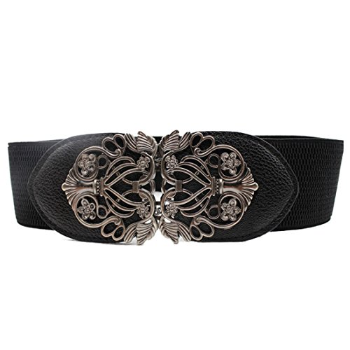 Voberry Women's Vintage Wide Elastic Stretch Metal Buckle Waist Belt Waistband (Black) by Voberry (Image #6)