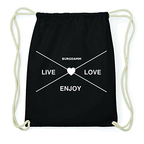 JOllify BURGDAMM Hipster Turnbeutel Tasche Rucksack aus Baumwolle - Farbe: schwarz Design: Hipster Kreuz Elcsd